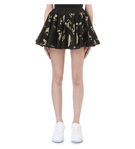 BOY LONDON Gold-toned motif tulle skirt (Black/gold