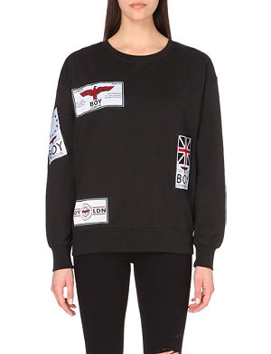 BOY LONDON Patch-appliqué cotton-jersey sweatshirt