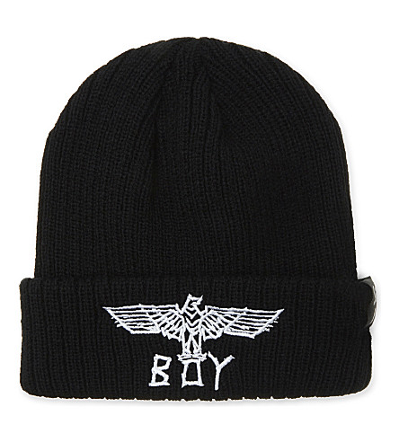 BOY LONDON Tape eagle logo beanie (Black white