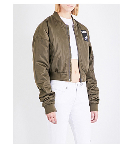BOY LONDON Tape-print cropped shell bomber jacket (Khaki+black