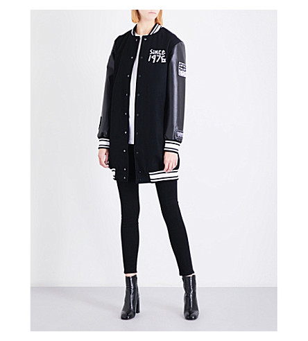 BOY LONDON Tape-print wool-blend varsity jacket (Black+white