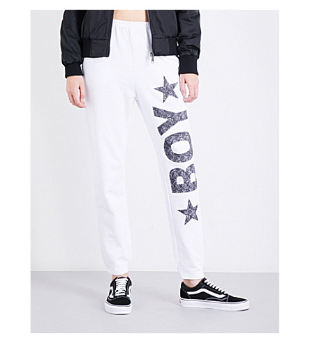 BOY LONDON Logo-print cotton-jersey jogging bottoms (White+black