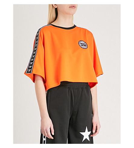 BOY LONDON Logo-tape cropped jersey T-shirt (Orange