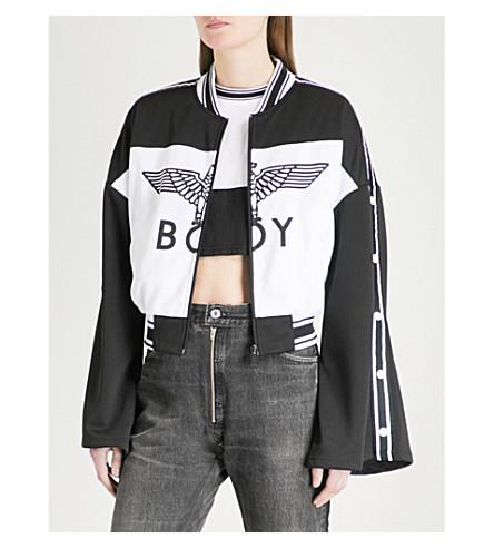BOY LONDON Eagle-logo shell bomber jacket (Black/white