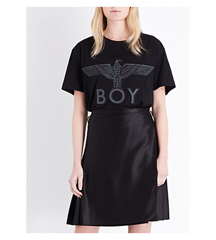 BOY LONDON Eagle-embroidered cotton-jersey T-shirt (Black