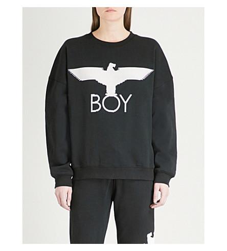BOY LONDON Eagle-logo cotton-jersey sweatshirt (Black/white