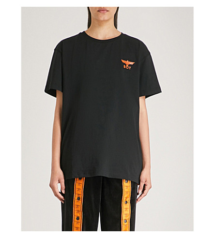 BOY LONDON徽标-印花棉衫衫 (黑色/橙色