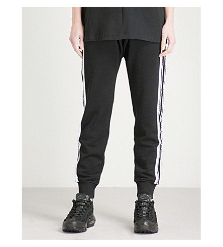 BOY LONDON Side-stripe cotton-jersey jogging bottoms (Black/white