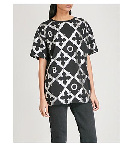 BOY LONDON Echo cotton-jersey T-shirt (Black/silver