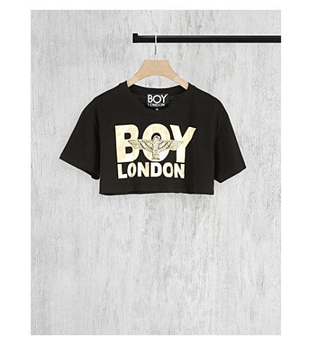 BOY LONDON Cropped logo-print cotton t-shirt (Black