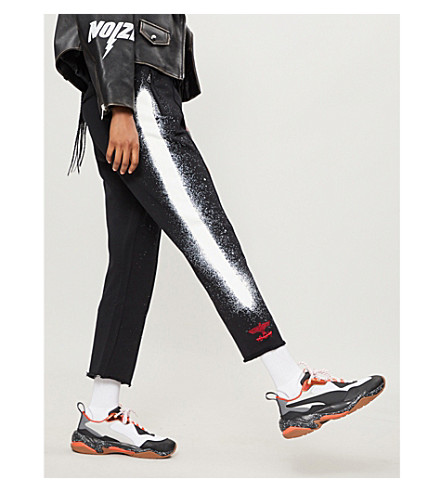 Fake cotton-jersey track pants