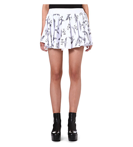 BOY LONDON Logo-print mini skirt (White