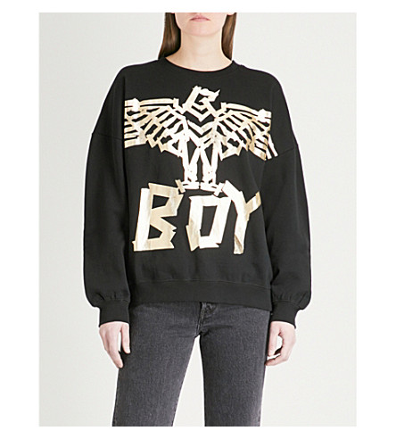 BOY LONDON Tape Eagle cotton-jersey sweatshirt (Black/gold