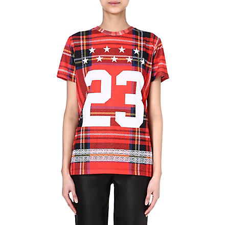 CRIMINAL DAMAGE Tartan print t-shirt (Red