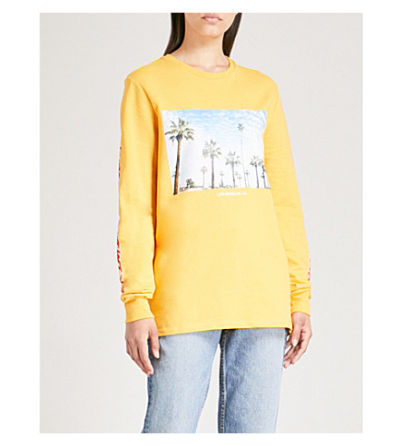 CRIMINAL DAMAGE Cali LS cotton-jersey top Yellow From UK Online CxfD2FsI