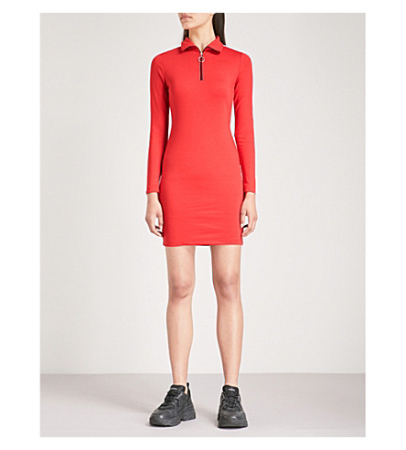 CRIMINAL DAMAGE Hater striped stretch-cotton dress (Red