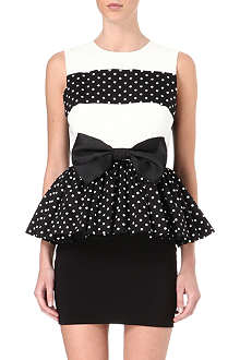 LOLA LOVES Wanda polka dot peplum dress