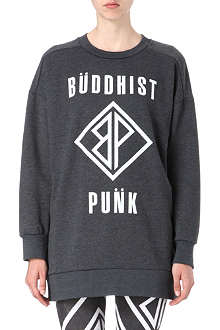 BUDDHIST PUNK Text-print oversized jumper