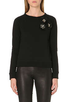 NEEDLE AND THREAD Corsage-detail jersey sweatshirt