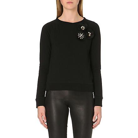 NEEDLE AND THREAD Corsage-detail jersey sweatshirt (Black