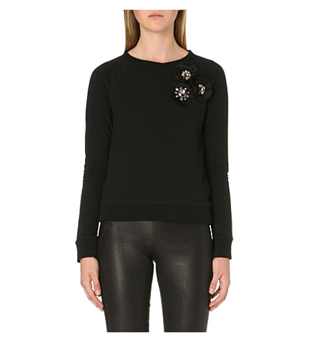 NEEDLE AND THREAD Corsage-detail jersey sweatshirt (Black