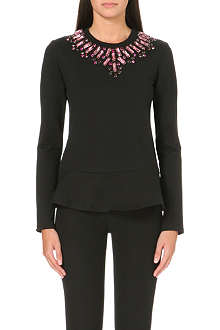 NEEDLE AND THREAD Jewel-neckline peplum sweatshirt