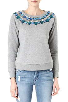 NEEDLE AND THREAD Embellished jewel sweatshirt