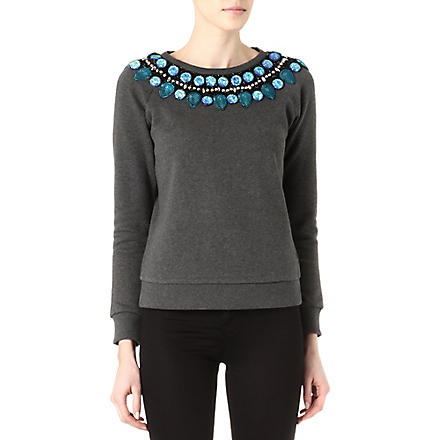 NEEDLE AND THREAD Embellished jewel sweatshirt (Vintage+black