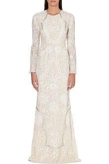 NEEDLE AND THREAD Lace petal embellished dress