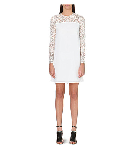 NEEDLE AND THREAD Lattice embroidered dress (Cream