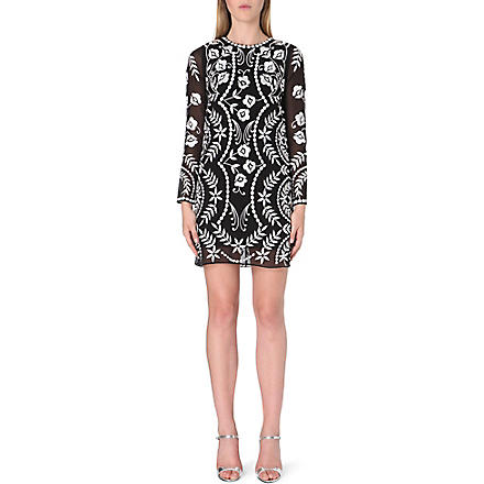 NEEDLE AND THREAD Embroidered floral dress (Black/cream