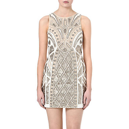 NEEDLE AND THREAD Sundown embellished dress (Chalk/gold