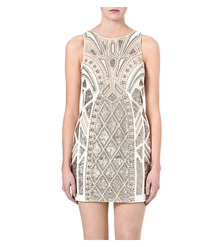 NEEDLE AND THREAD Sundown embellished dress (Chalk/gold