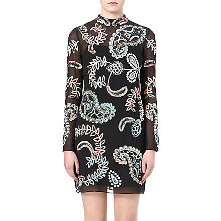 NEEDLE AND THREAD Radiant paisley-embellished dress (Vintage black/pastel