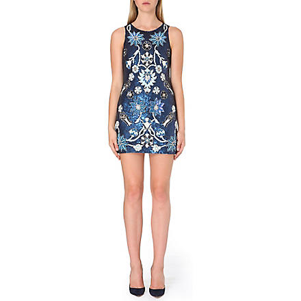 NEEDLE AND THREAD Sequin-embellished mini dress (Blue
