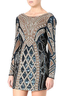 NEEDLE AND THREAD Geometric pearl bead and sequinned dress
