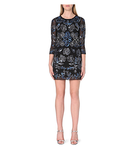 NEEDLE AND THREAD Empress mini dress (Black/blue
