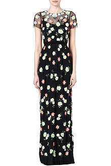 NEEDLE AND THREAD Embellished floral maxi dress