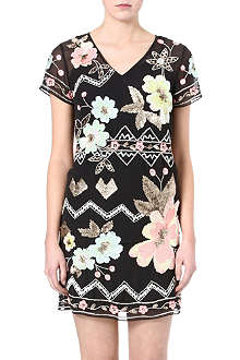 NEEDLE AND THREAD Lotus Flower embellished dress