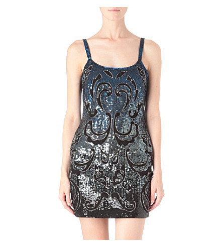 NEEDLE AND THREAD Etch sequinned mini dress (Black/petrol