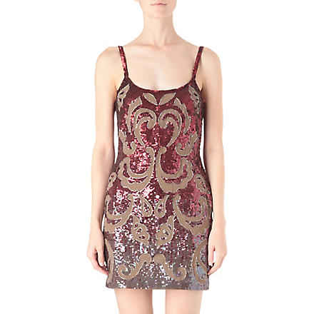 NEEDLE AND THREAD Etch sequinned mini dress (Red/plum