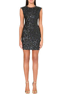 NEEDLE AND THREAD Petrol sequin-embellished dress