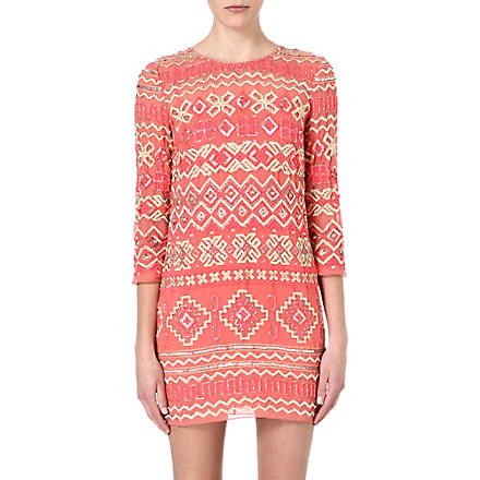 NEEDLE AND THREAD Lace embellished dress (Coral/yellow