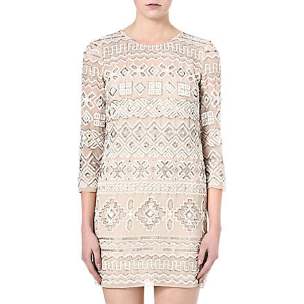 NEEDLE AND THREAD Lace embellished dress (Pale nude/chalk