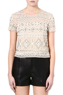 NEEDLE AND THREAD Lace embellished top