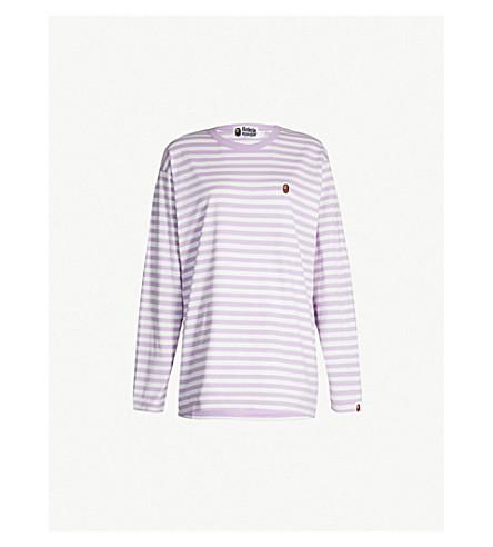 BAPE Striped cotton-jersey top (Purple