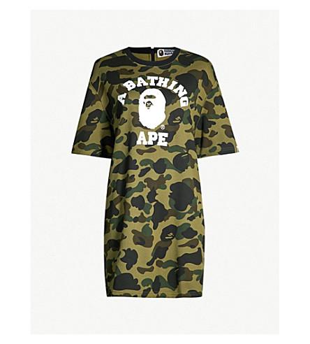BAPE Camouflage-print cotton-jersey T-shirt dress (Green