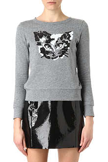 B+AB I.T sequinned cat sweatshirt