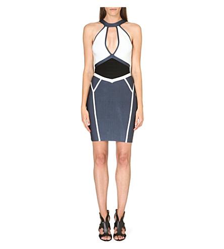 CELEB BOUTIQUE Alana cut-out bandage dress (Blue/white
