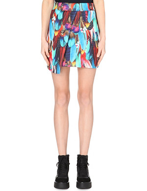 JADED LONDON Feather-print neoprene skirt